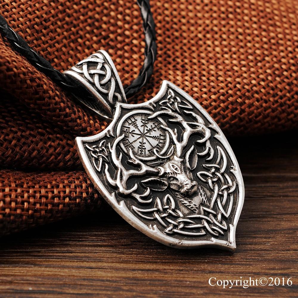 legendary viking vegvisir eikthyrnir deer talisman necklace