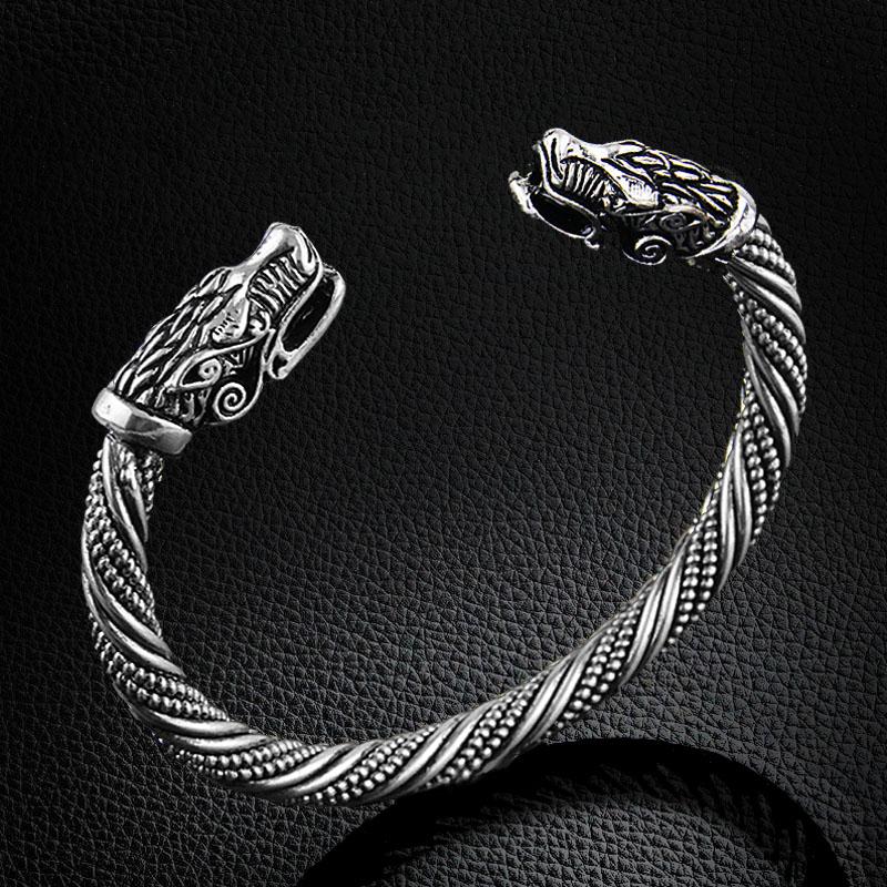 Wolf Charm Bracelet: Wolf Head Bracelet Viking Cuff Bracelet Bangle